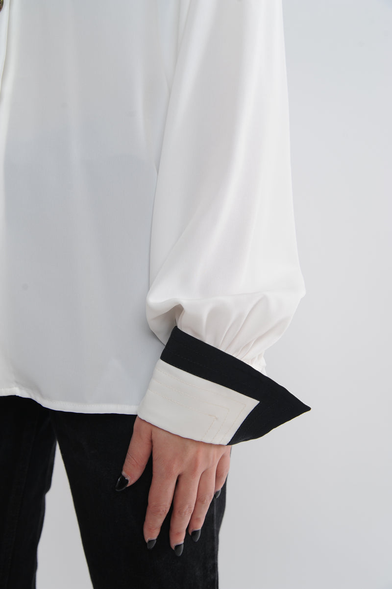 White Double Collar Blouse