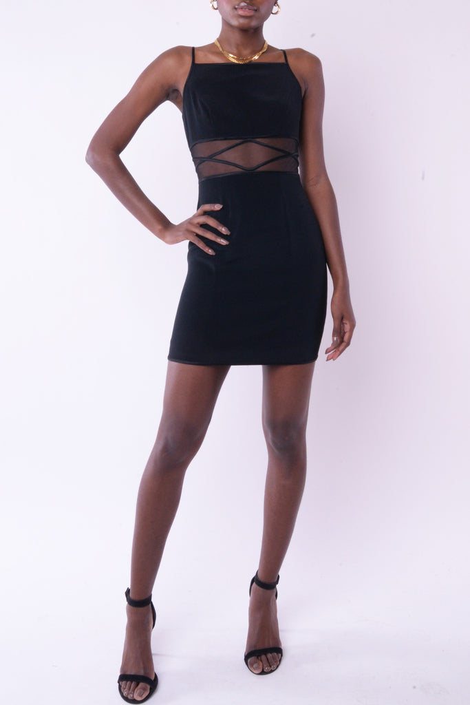 1990s Black Mesh Cutout Mini Dress