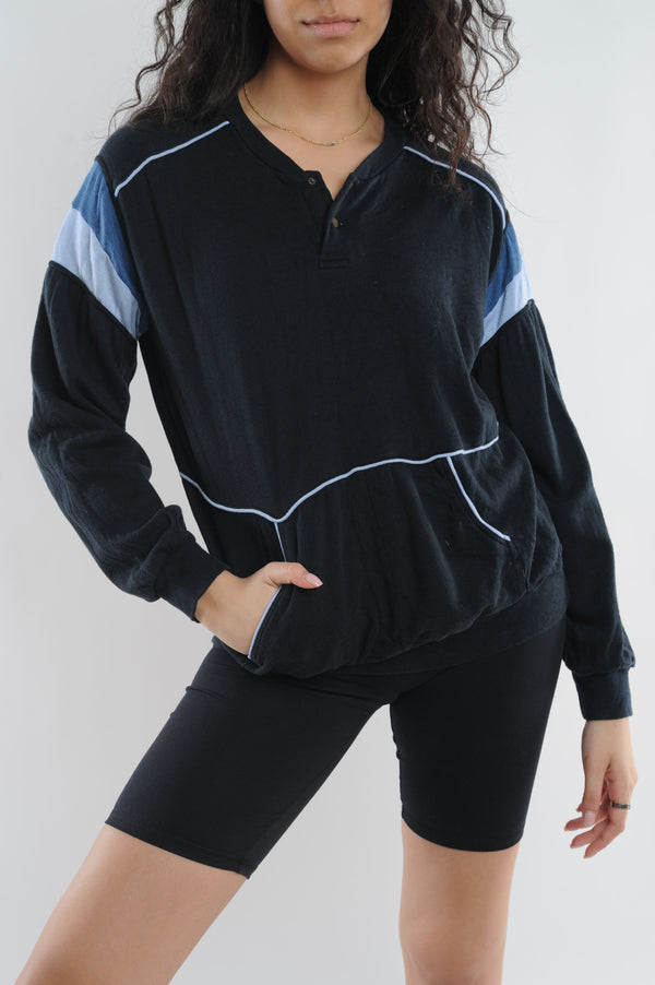 Black Striped Sleeve Sweatshirt