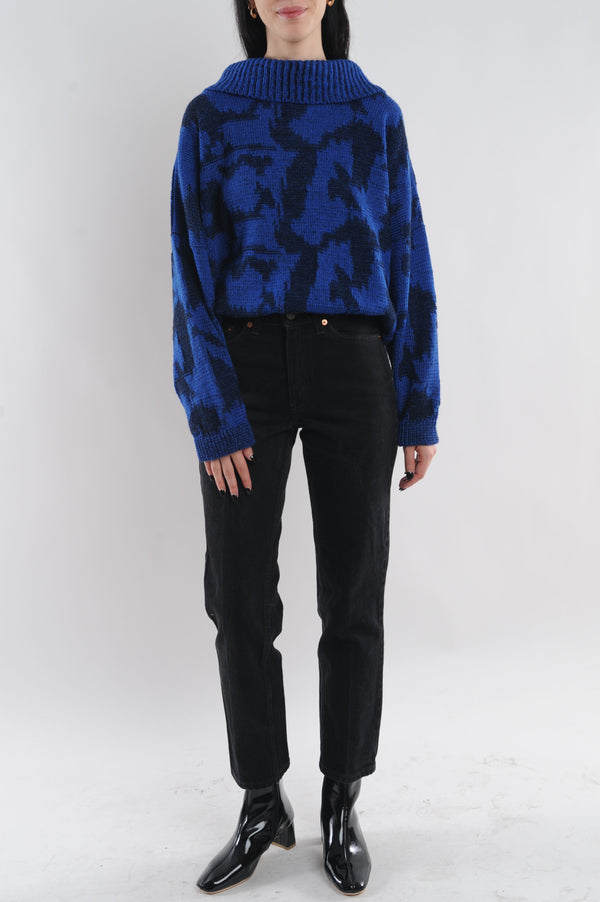 Abstract Button Up Sweater