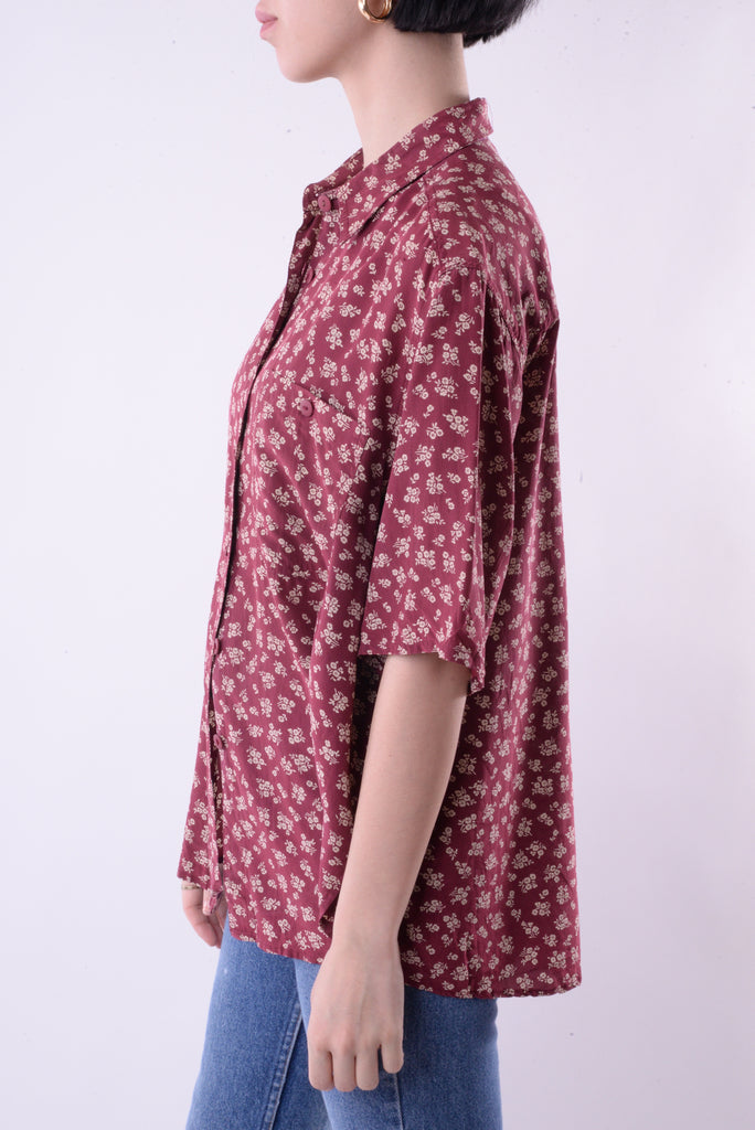 Maroon Silk Floral Blouse