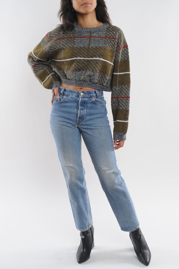 Abstract Striped Cropped Sweater