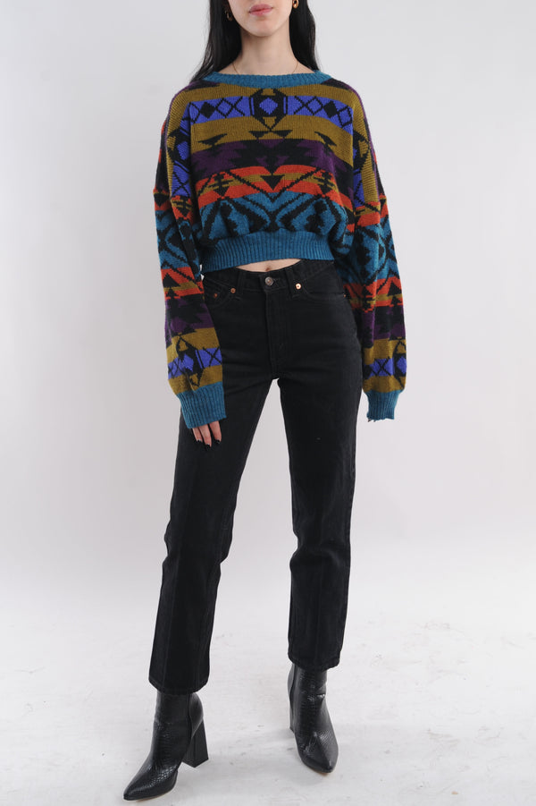 Striped Abstract Cropped Sweater