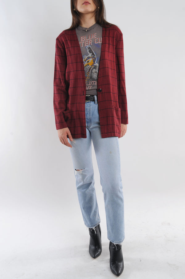 Plaid Open Front Top