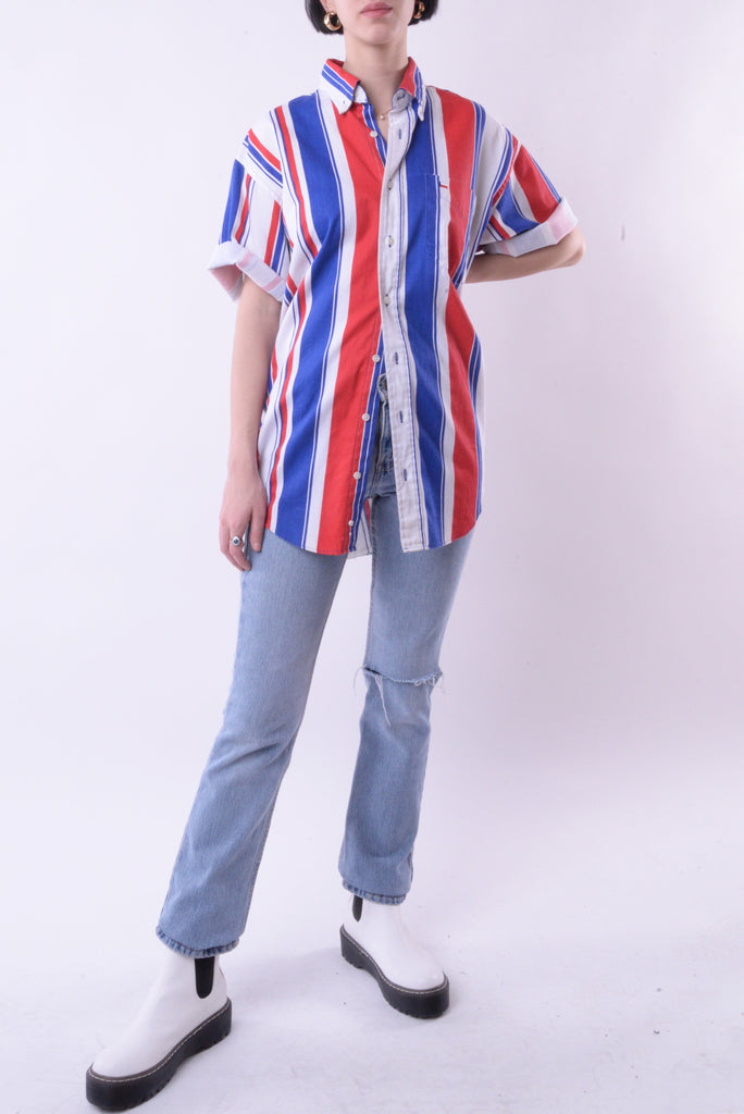 Texas Flag Striped Button Down