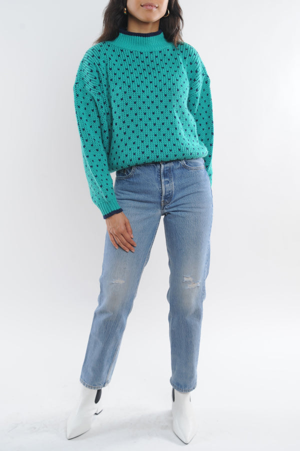 Polka Dot Cropped Sweater