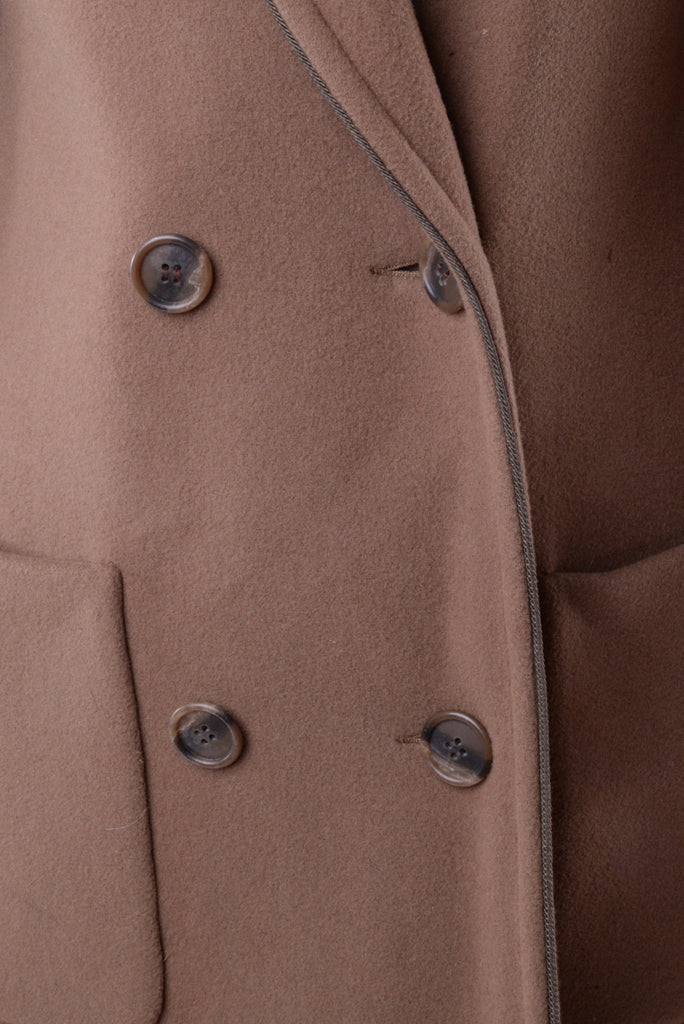 Brown Double Breasted Wool Coat
