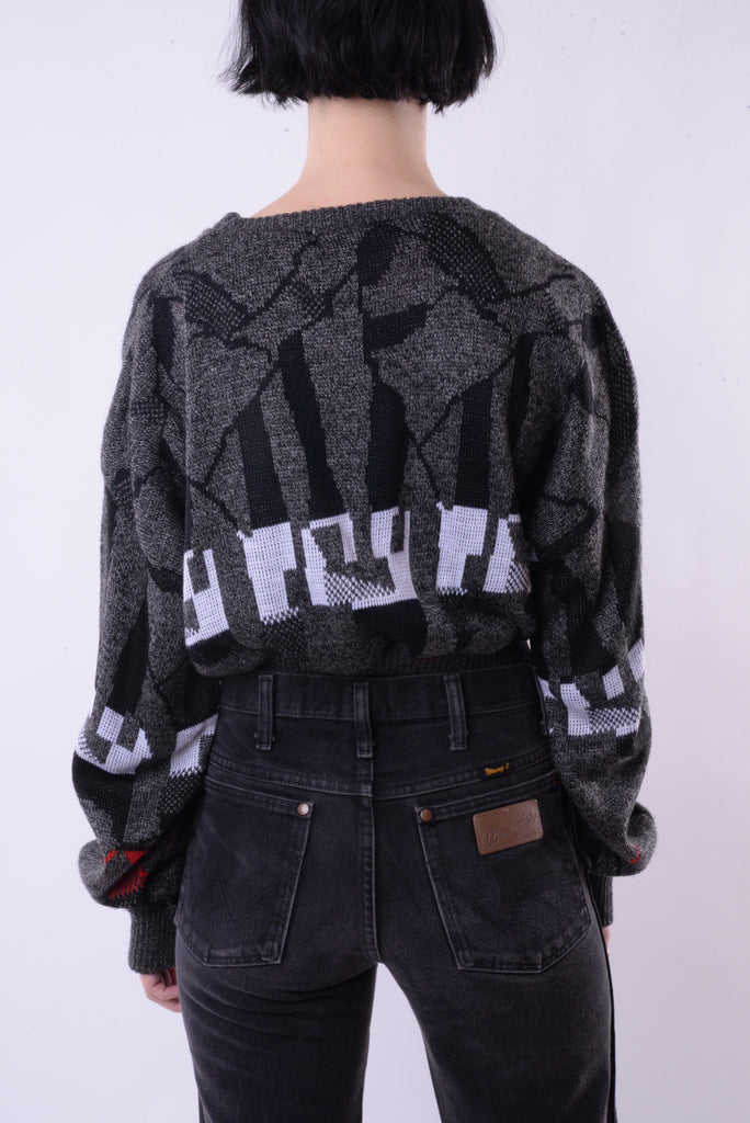 Abstract Cropped Sweater