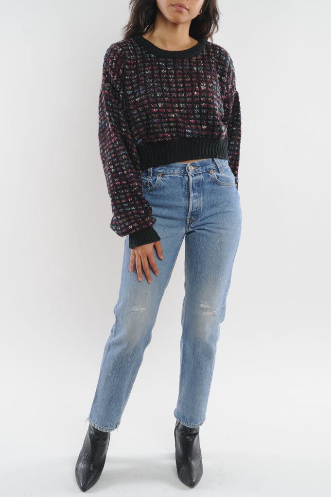 Checked Cropped Sweater