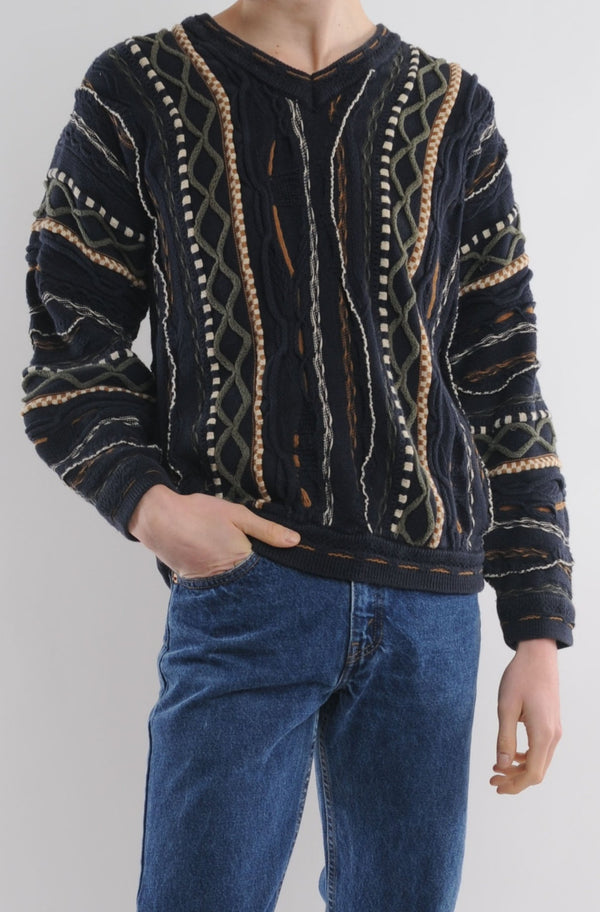 Navy Textured Retro Sweater