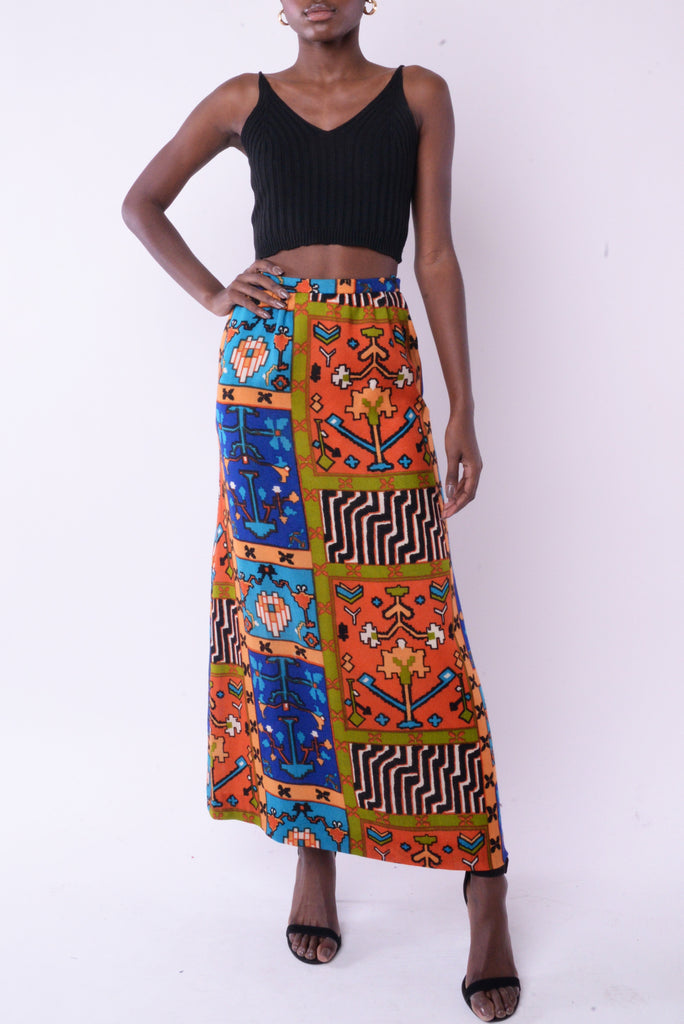 Wool Geometric Maxi Skirt