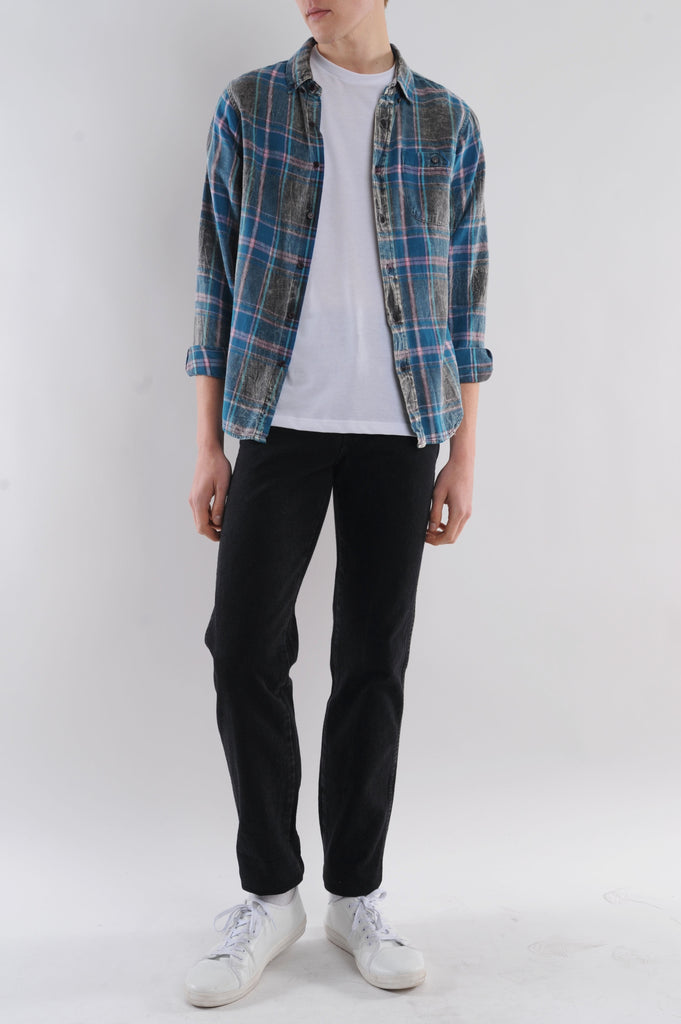 Acid Wash Plaid Flannel Shirt
