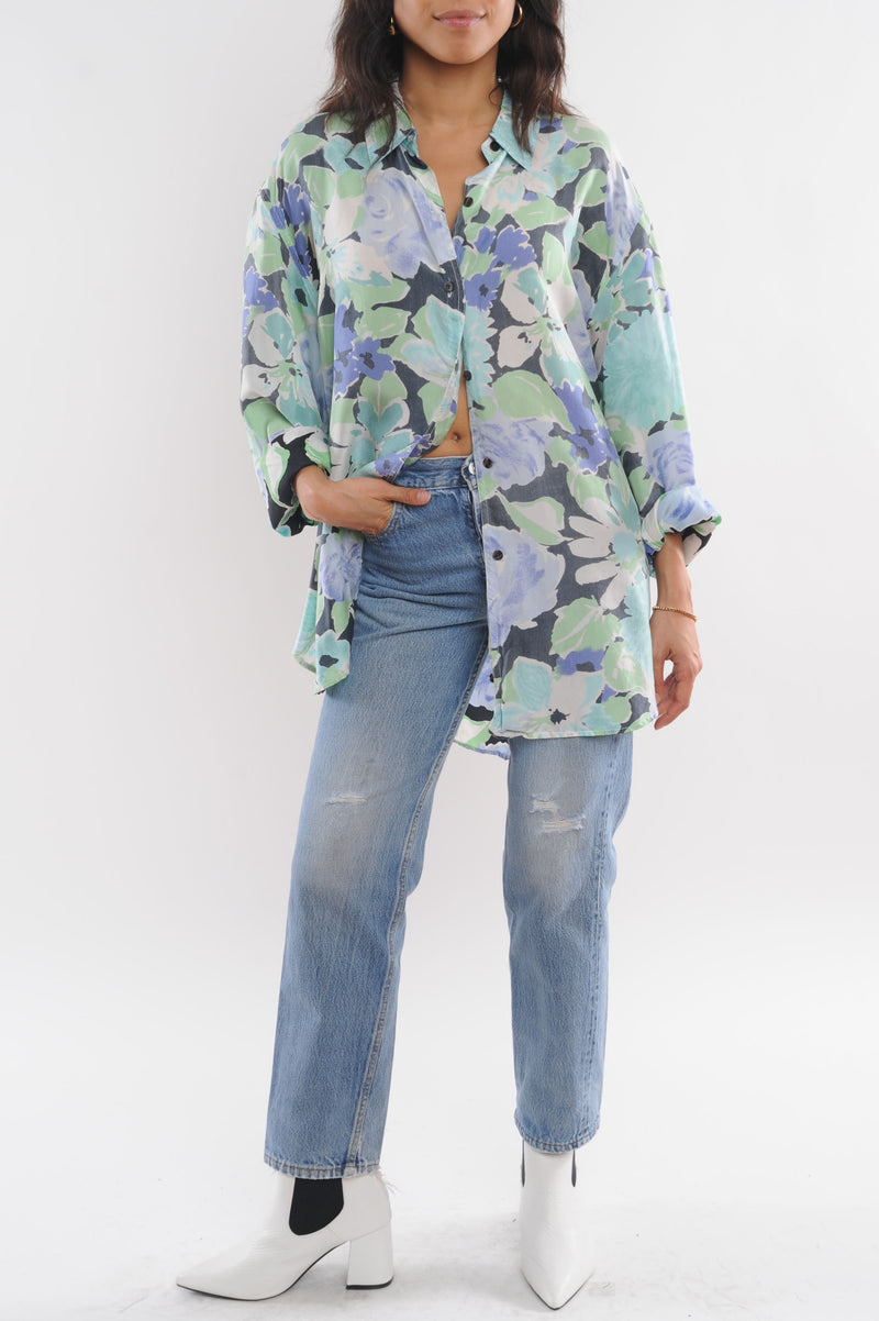 Faded Floral Silk Blouse