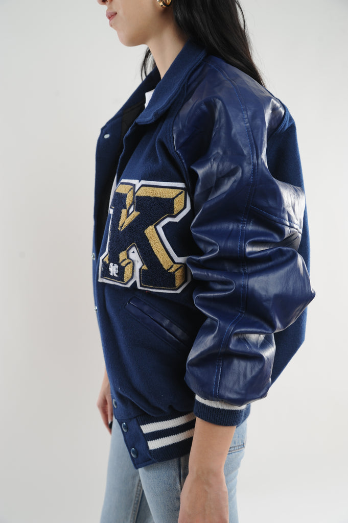 Navy Letterman Jacket