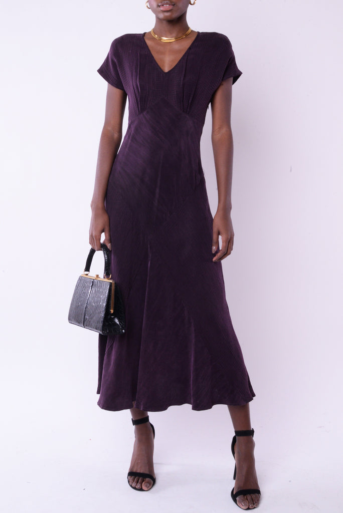 Purple Silk Maxi Dress