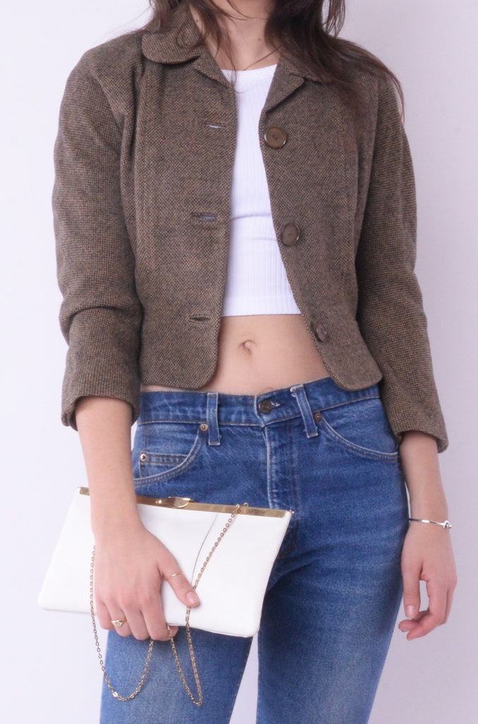 Brown Cropped Wool Blazer