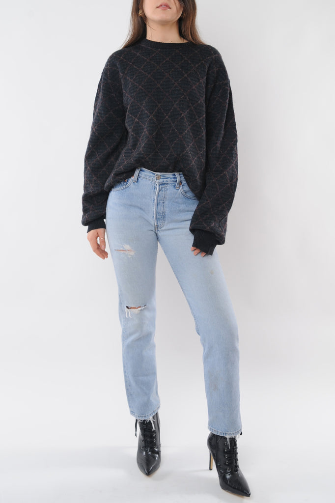 Gray Lattice Wool Sweater