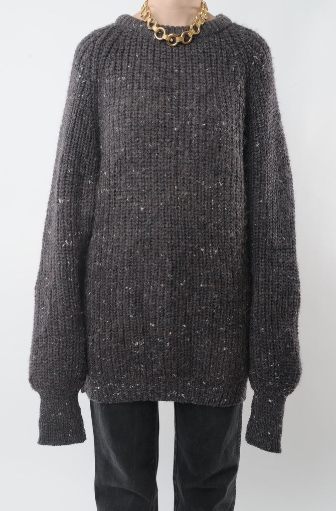 Gray Speckled Wool Sweater