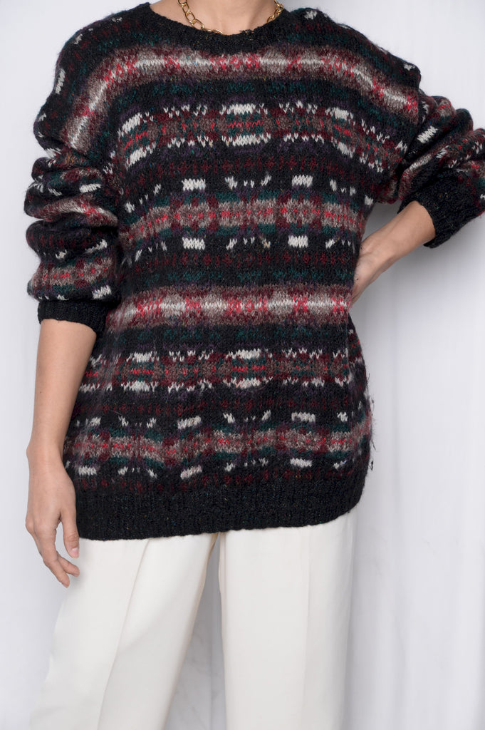 Abstract Striped Wool Sweater