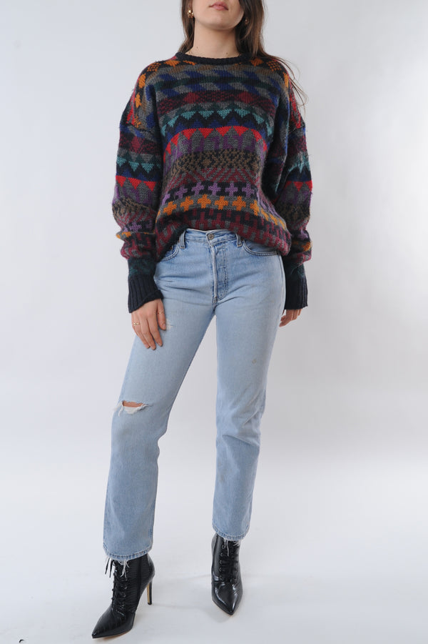 Multicolor Geometric Wool Sweater