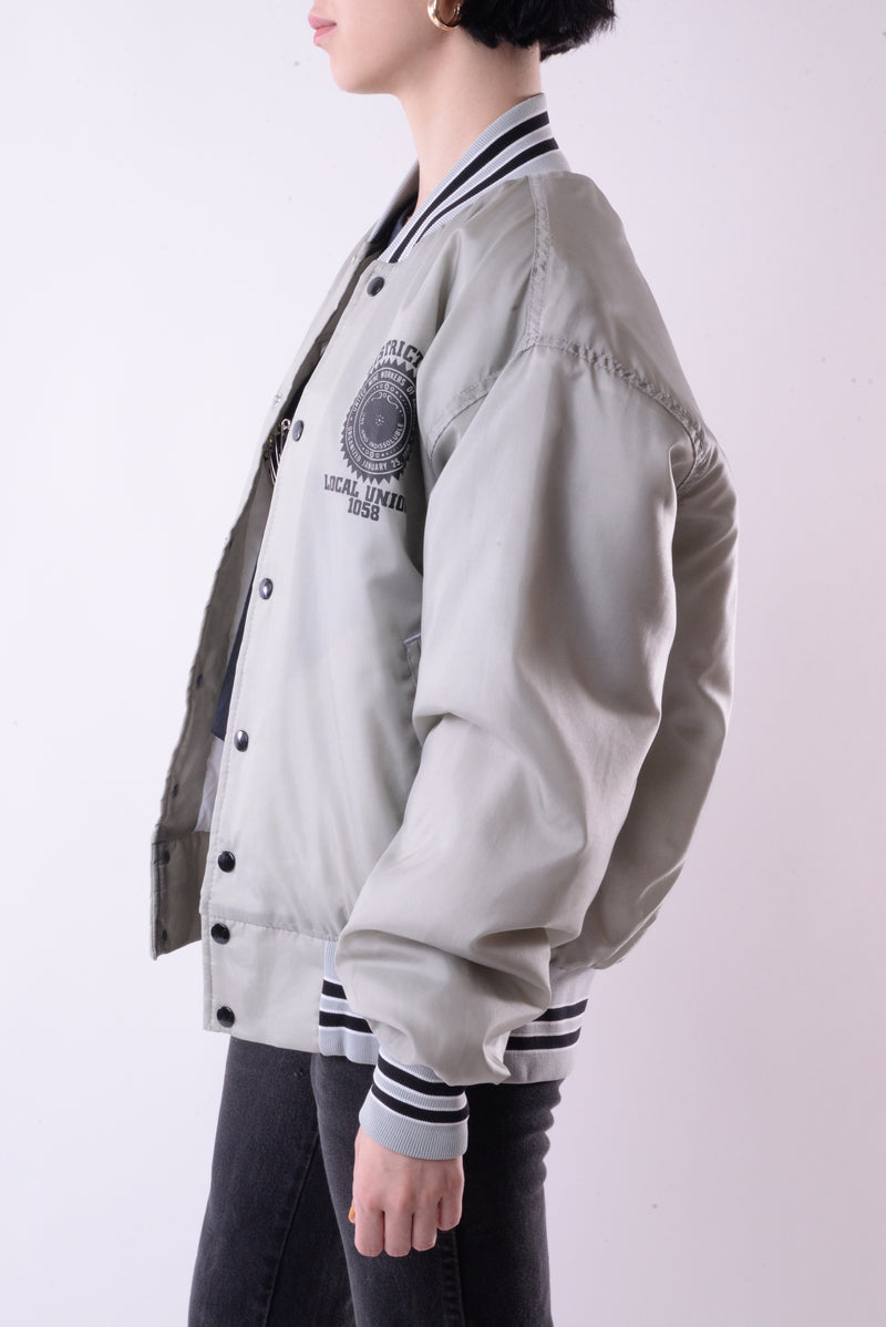 Gray Satin Bomber Jacket