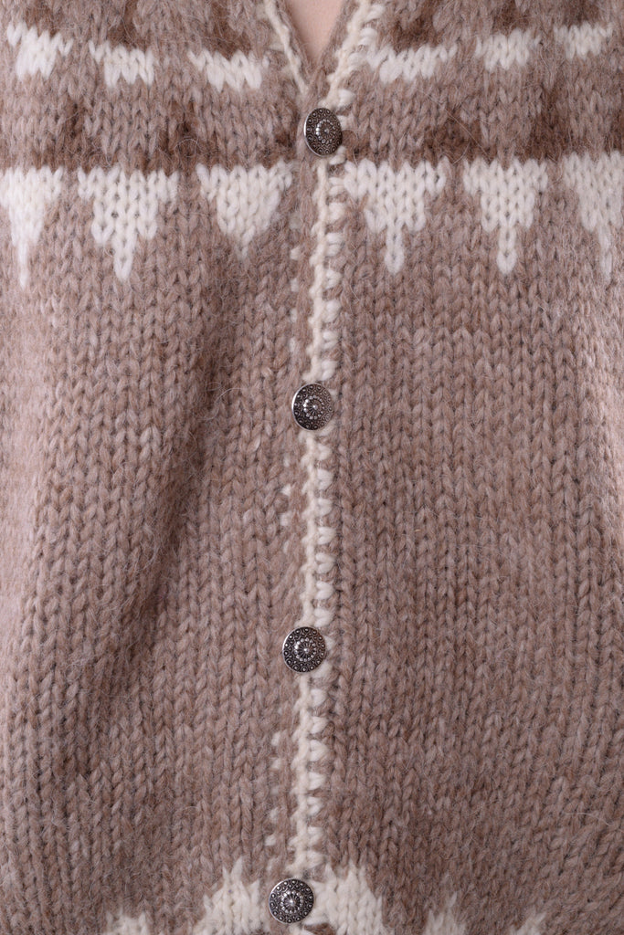 Beige Geometric Wool Sweater