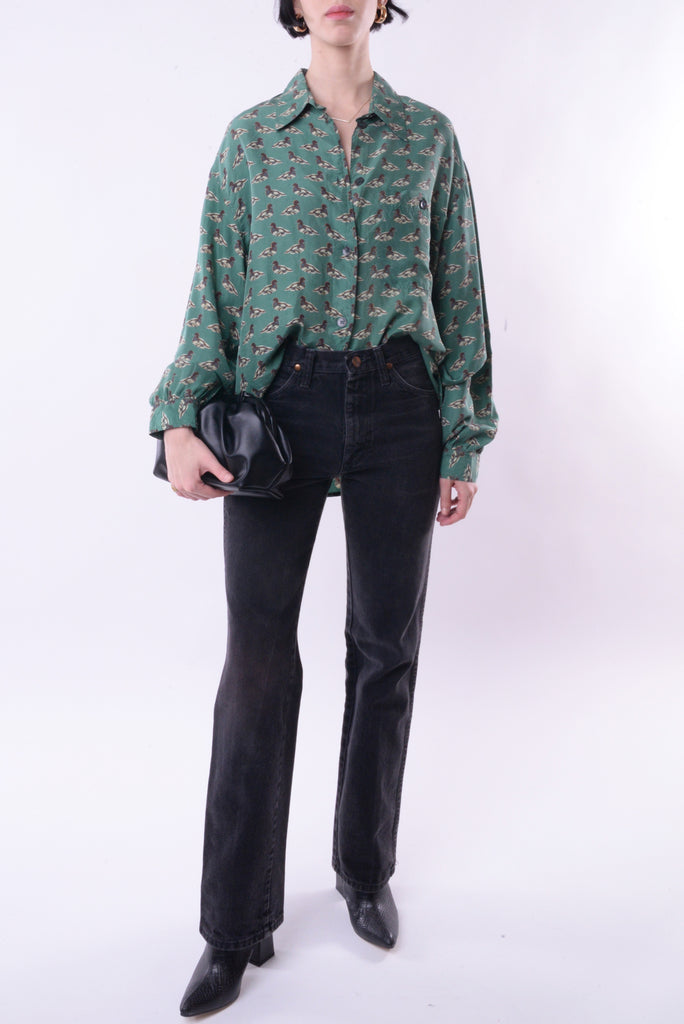 Duck Print Silk Blouse