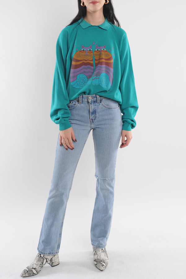 Teal Abstract Cat Sweatshirt