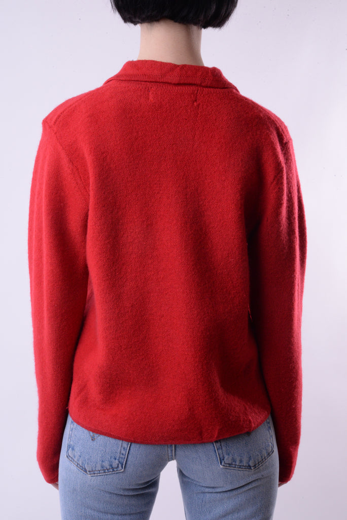 Red Zip-Up Sweater