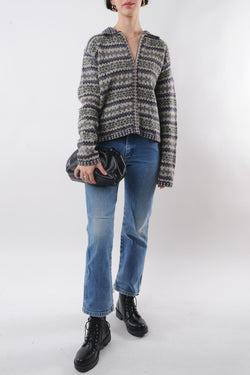 Geometric Zip-Up Wool Sweater