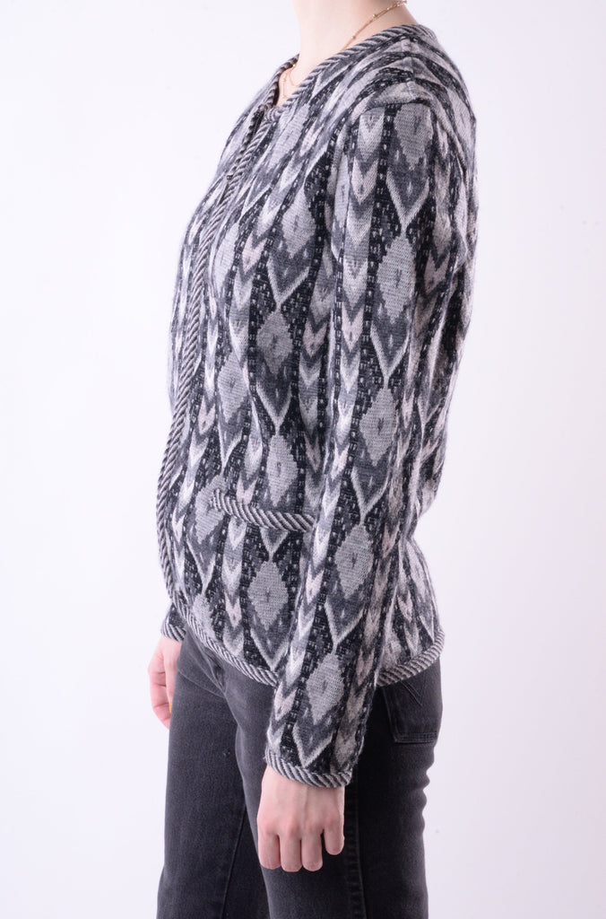 Geometric Merino Wool Zip-Up