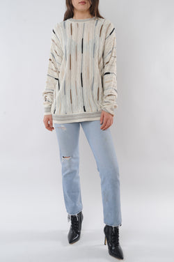 Cream Textured Retro Sweater