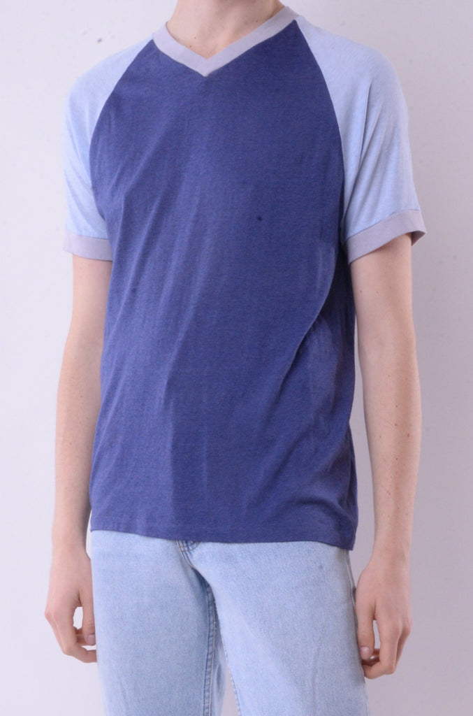 Blue V-Neck Ringer Tee