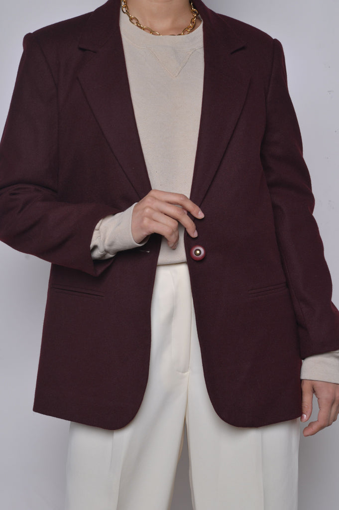 Wine Wool Blazer