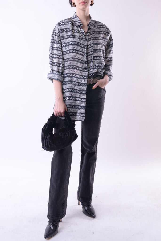 Abstract Stripes Silk Blouse