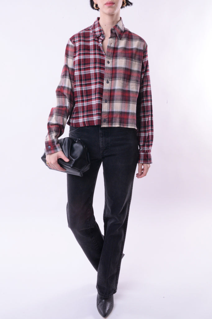 Cropped Spliced Flannel
