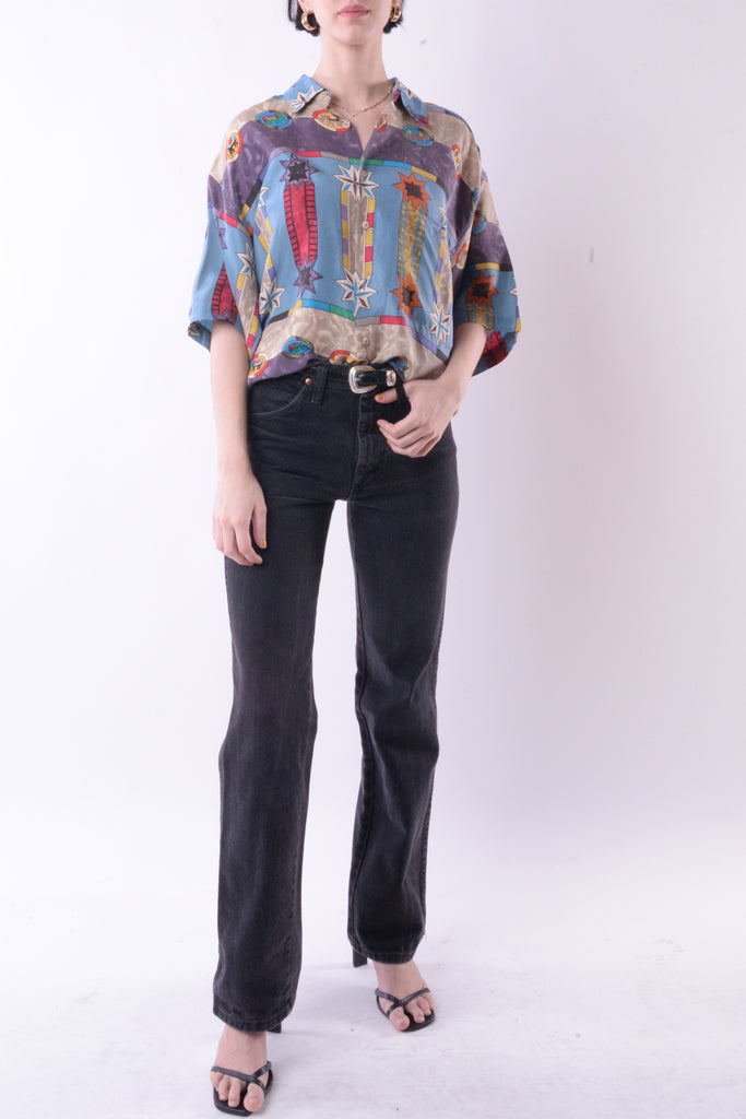 Abstract Silk Short Sleeve Button Down