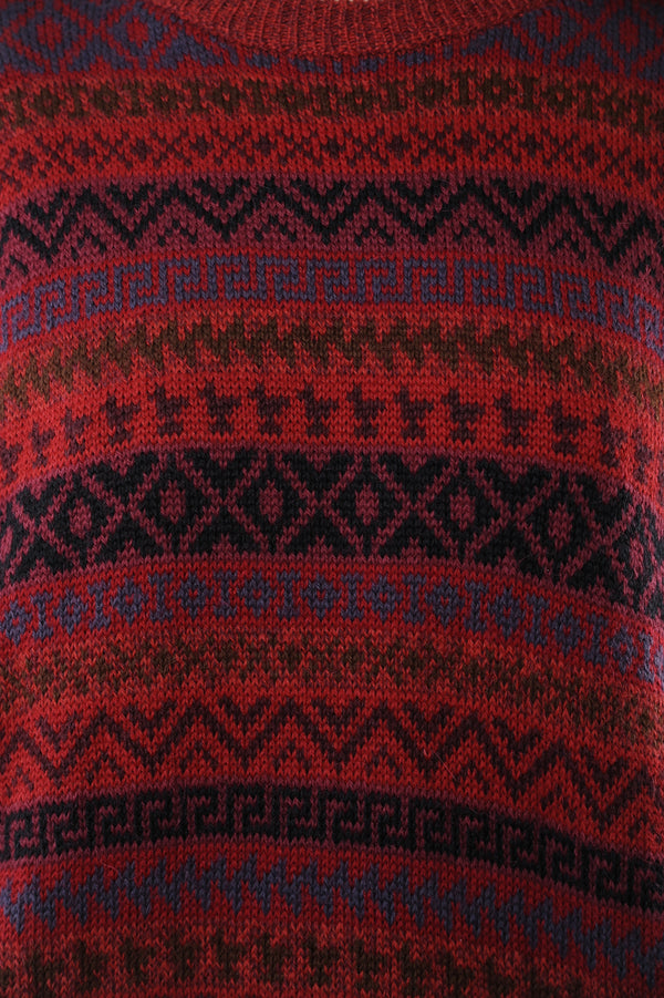 Red Geometric Alpaca Sweater