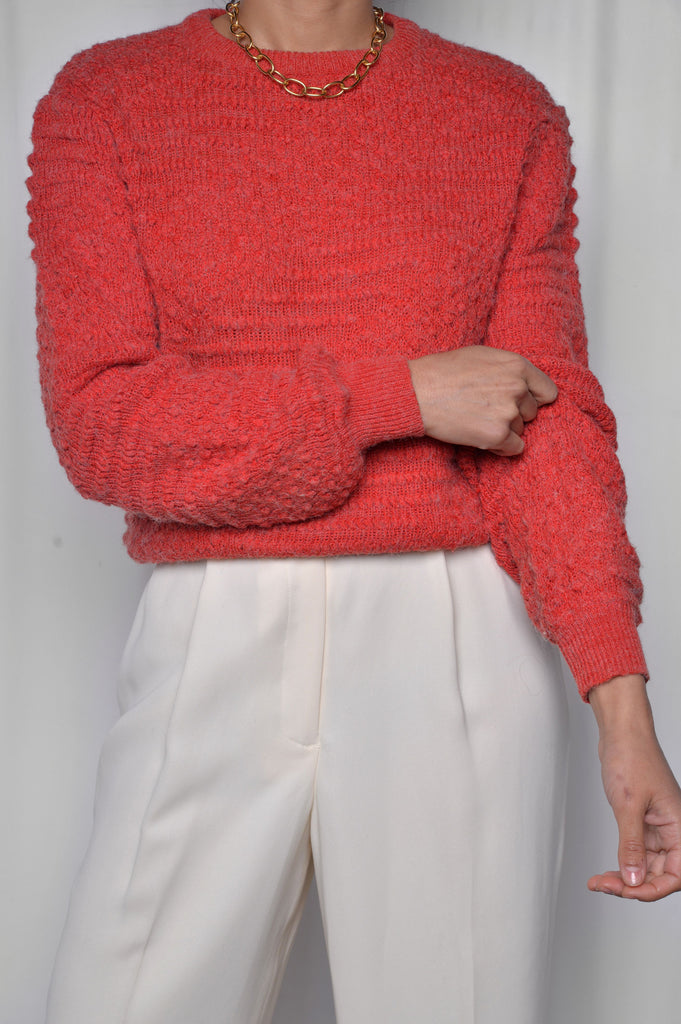 Red Textured Fuzzy Sweater