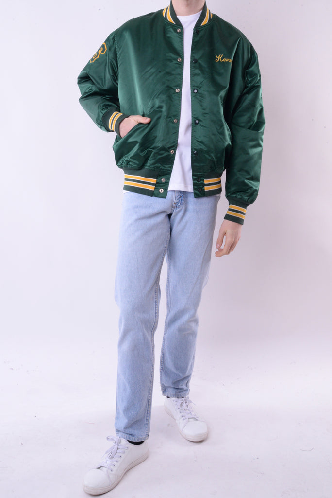 New Dorp Central Satin Bomber Jacket