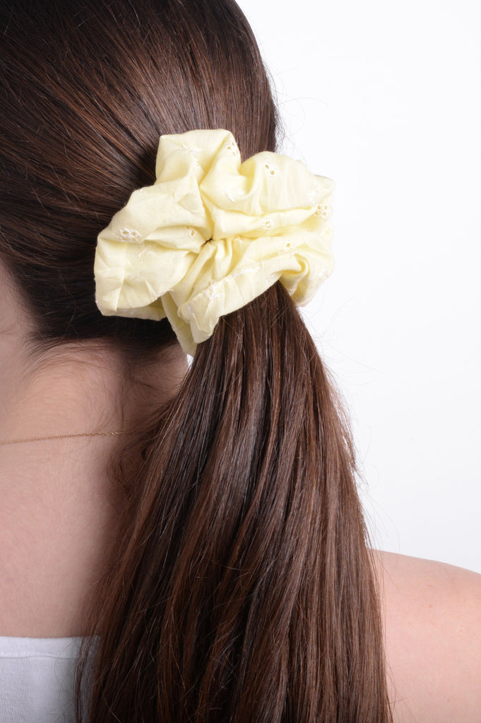 Yellow Eyelet Scrunchie