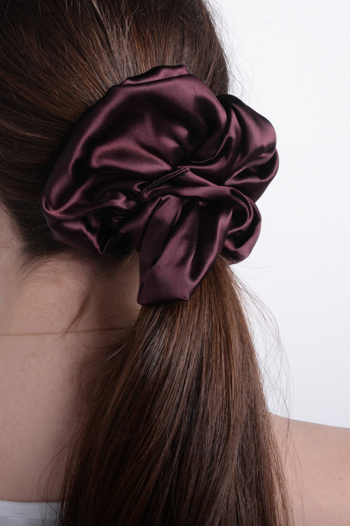 Wine Silk Scrunchie