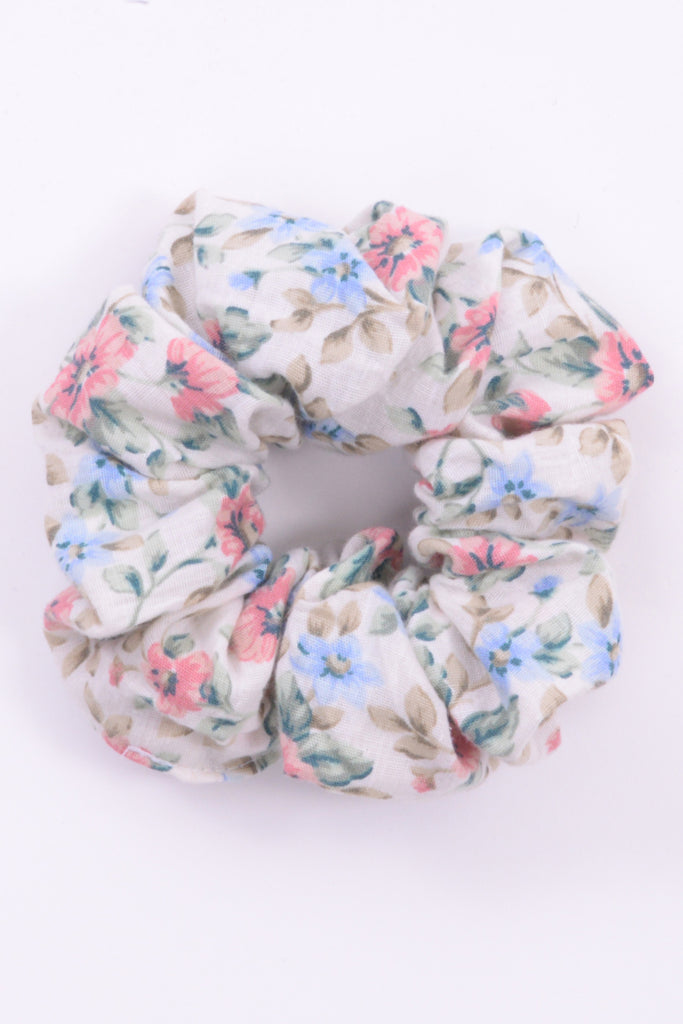Neutral Floral Scrunchie