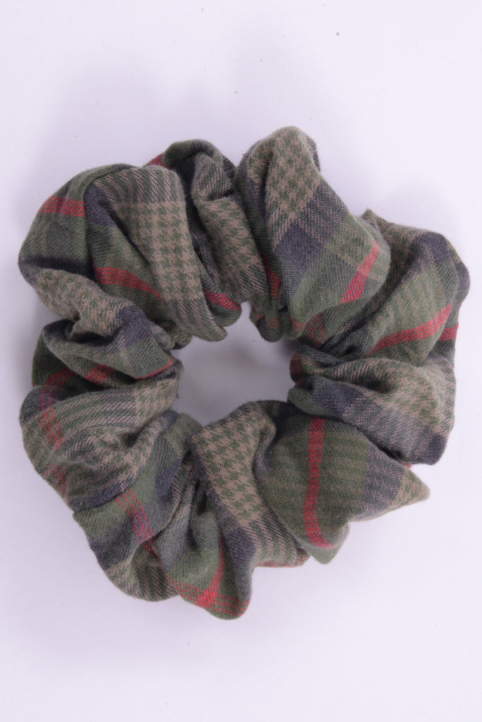 Green Plaid Scrunchie