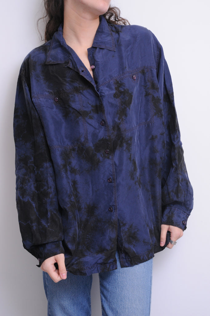 Blue Tie Dye Silk Blouse