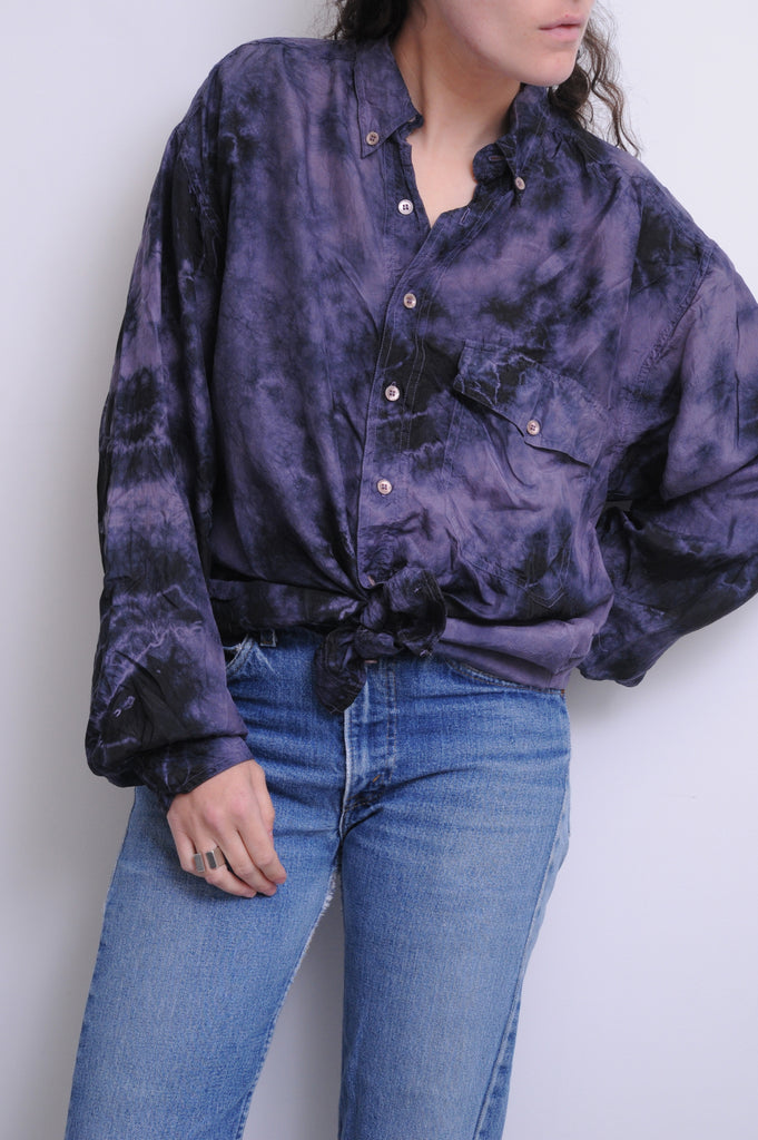 Purple Tie Dye Silk Blouse
