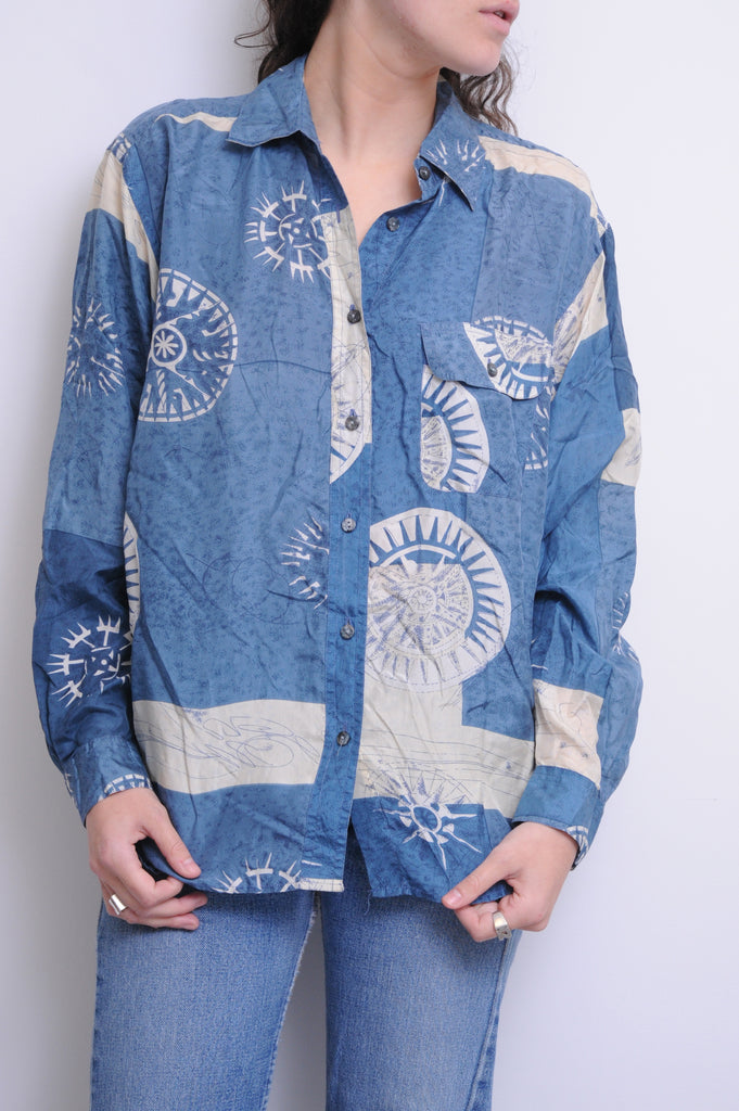 Nautical Powder Blue Silk Shirt