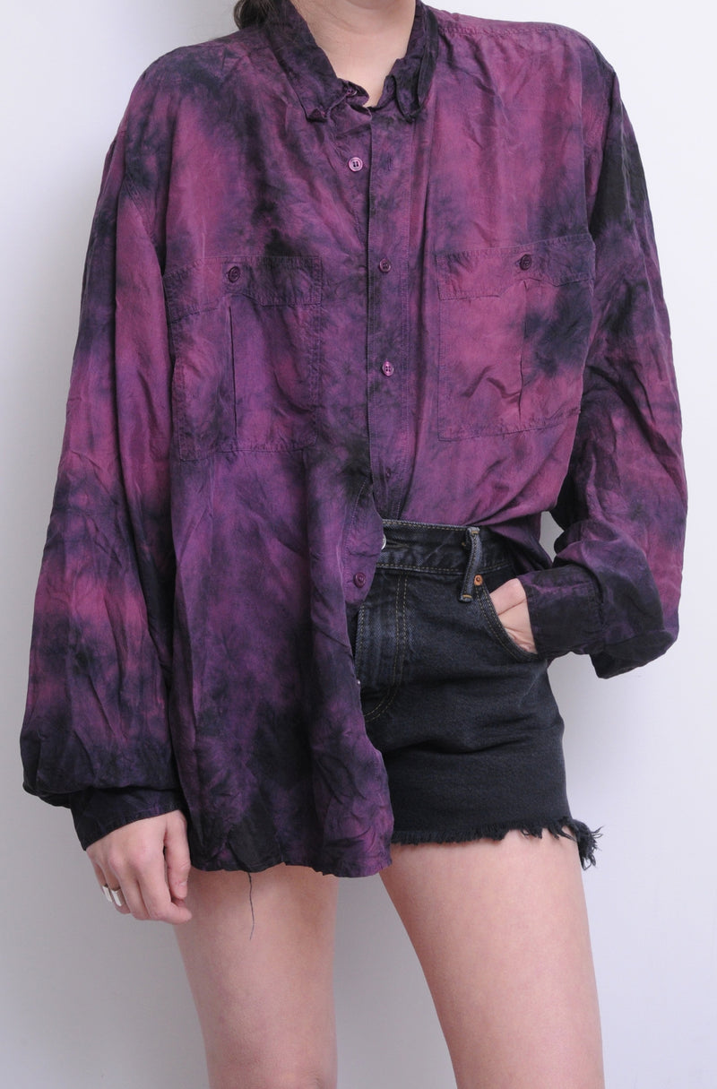 Silk Tie Dye Button Down