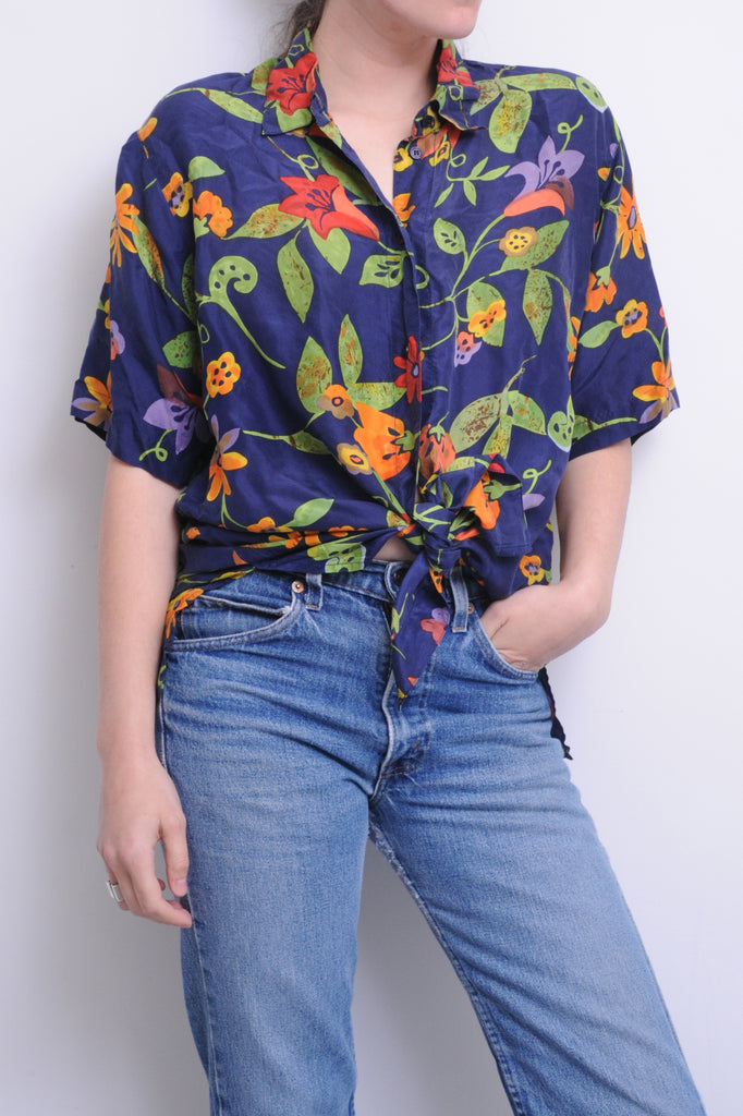 Navy Floral Silk Shirt