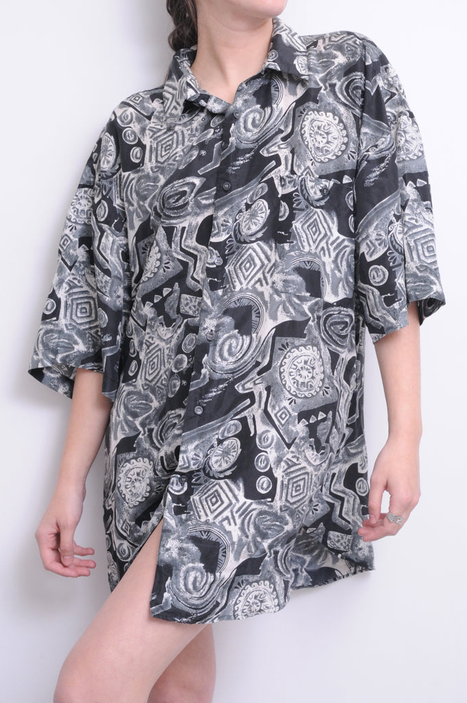 Black Abstract Silk Button Down